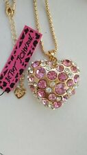Betsey Johnson fashion jewelry Cute Pink Crystal heart pendant necklace #F443L