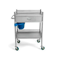 1x Beauty Places Medical Stainless Steel Dental Cart Trolley 2 Layers Drawer UDW