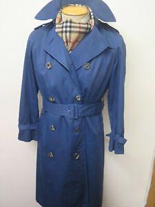Vintage Aquascutum Blue Raincoat Coat Mac Trenchcoat Raincoat Size UK 8 Euro 36