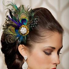 Rhinestones Peacock Feather Bridal Wedding Hair Clip Pin Head Hairpin Pop