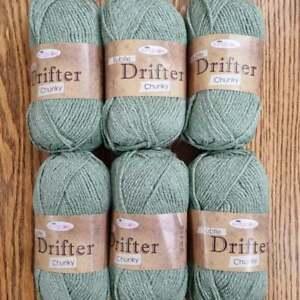6 x 100gKing Cole Subtle Drifter Chunky Plain Knitting Wool Yarn leaf, green