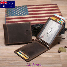 Genuine Leather Men's RFID Credit Card Holder Money Clip Wallet AU Good J01