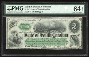 1873 Cr.14 $2 The State of South Carolina Note - PMG Choice Unc. 64 EPQ