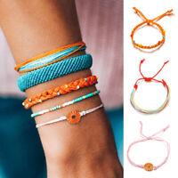 5Pcs Braided Daisy Woven Thread Friendship Handmade Rope Set Bohemian Bracelet