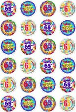 24 65th Birthday Cupcake Fairy Cake Toppers Edible Rice Wafer Paper Decorations