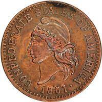 1861, 1/100 Confederate Token Restrike Cent, Exonumia