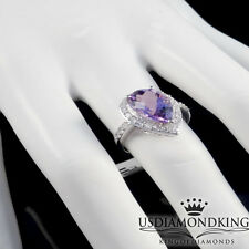 10k WHITE GOLD GENUINE AMETHYST EYE DROP SIMULATED DIAMOND ENGAGEMENT RING BAND