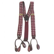 Pelican USA Silk Braces Suspenders Leather Button On Brass Cinches Burgundy Whit