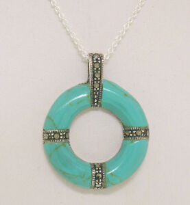 """NEW Sterling Silver Turquoise Marcasite Round Life Saver 18"""" Pendant Necklace"""
