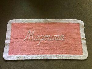 "Vintage Chenille Salmon Pink White MAGOWAN Script 35"" x 18"" Bathroom Rug"