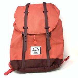 "Herschel Retreat 19.5L Backpack Orange Brown Trim Fits 15"" Laptop Rare Color NEW"