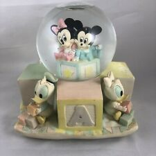Vintage Disney Large Snowglobe - Baby Mickey, Minnie, Goofy, Etc - W/ Lullaby!
