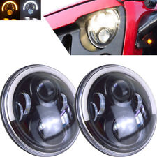 Pair 7inch H4 LED Headlights High Low DRL Halo For Jeep Wrangler TJ JK 1997-2017