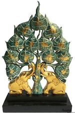 Carved Wood Tree of Life with Gold Elephant Home Decor Statue.Centerpiece Accent