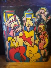 ORIGINAL ART 1960's LARGE ABSTRACT PAINTING ON MASONITE DRUGGED CUBISM MODERN