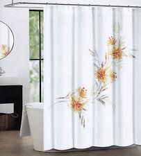 Tahari Fabric Cotton Blend Shower Curtain Floral Martina Coral Tan White - NEW