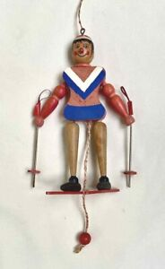 Vintage WOOD WOODEN Painted JUMPING JACK SKIER Pull Toy FREE SHIP