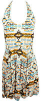 NEW Womens Ladies Summer Dress Fashion Beach Halterneck Aztec Print 8-14