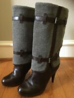 Cole Haan Air Kennedy $398 Gray Wool High Heel Buckle Leather Boots Size 11B EUC
