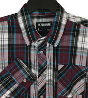 Men's Large Zoo York Long Sleeve Plaid Button Up Shirt White Gray Blue