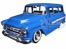 "1957 CHEVROLET SUBURBAN BLUE ""JUST TRUCKS"" W/EXTRA WHEELS 1/24 JADA 97190"