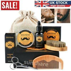5Pcs Beard Growth Care Grooming Kit Oil Balm Comb Brush Scissors Travel Bag Gift