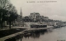 Auxerre France  Antique Postcard Early 1900s Rare Saint Germaine Church River Bo