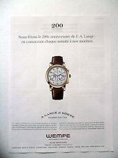 PUBLICITE-ADVERTISING :  A.LANGE & SOHNE 1815 Chronographe  2015 Wempe,Montres