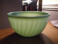 "Vintage FIRE KING 9"" MIXING BOWL Jadite/Jadeite Swirl Pattern"