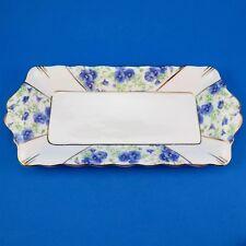 "Royal Albert Blue Pansy Design Sandwich Plate 10 1/2"""