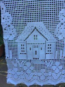 Small vintage net curtain, 43 cms W x 84 cms L. House & Trees