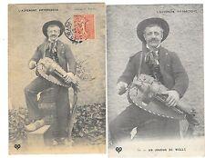 AUVERGNE ensemble de deux cartes musiciens joueur de vielle gros plan