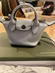 LONGCHAMP-Mini Le Pliage Cuir SKY BLUE Leather Bag Satchel Crossbody-NEW
