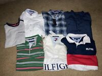 Mens Tommy Hilfiger Vintage And New Polos Button Ups & T's Lot EUC Authentic