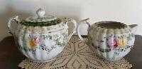 Vintage ~ Floral Pattern with Gold Trim ~ Porcelain ~ Creamer & Sugar Set