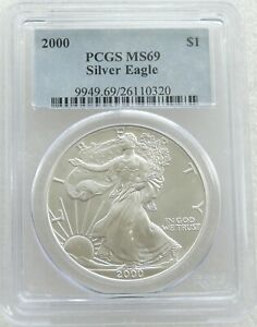 2000 United States American Eagle $1 One Dollar Silver 1oz Coin PCGS MS69