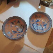 2 bols chinois avec oiseaux bleus et roses