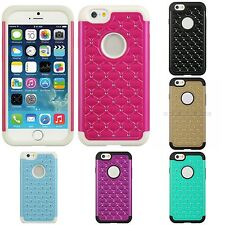 Luxury Diamond Studded Cover Dual Layer Protective Hard Case For Apple iPhone 6S