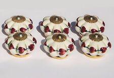 placard Céramique Poignées Boutons fleur blanche avec Prune Cœurs Brass raccords
