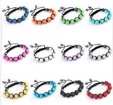 Disco Ball 9 Shamballa Resin Crystal Beads Braided Adjustable Bracelet,10mm