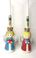 Set 2 Vintage Homco Christmas Angel Candle Holder Kitsch Paper Mache Choir Retro