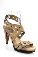 Tods Womens Tapered Heel Buckle Strap Sandals Brown Size 36.5 6.5