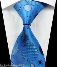 New Classic Patterns Round Light Blue JACQUARD WOVEN 100% Silk Men's Tie Necktie