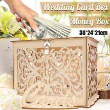 Wood Wedding Gift Card Box Wooden Money Box with Lock Advice Box Wedding Decor