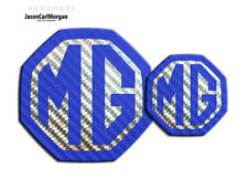 MG ZS MK2 04-05 Front & Rear Badge Inserts 59mm 95mm Blue Carbon Silver Badges