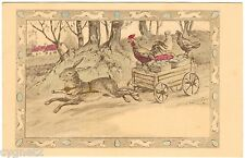 Postcard Rabbit Pulling Cart Of Easter Eggs And Chickens