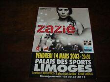 ZAZIE - RARE FLYER PALAIS DES SPORTS 2003 !!!!!!!!!!!!!