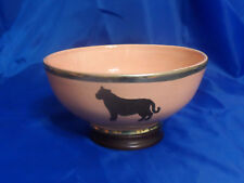 "8"" Moroccan Handmade Ceramic Glazed African LION Design Bowl w/ Metal Bands"
