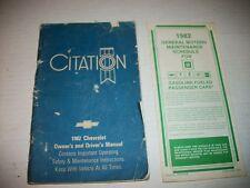 1982 82 CHEVROLET Citation Owners Operators Manual Book ORIGINAL oem