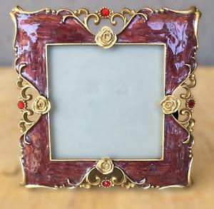 "Metal Enamel Red Crystal Picture Frame 3x3"" Square Ornate Floral Freestanding"